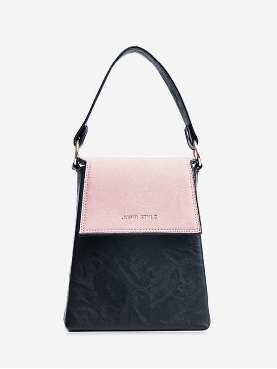 womens Embossing Color Block Faux Leather Handbag - PINK