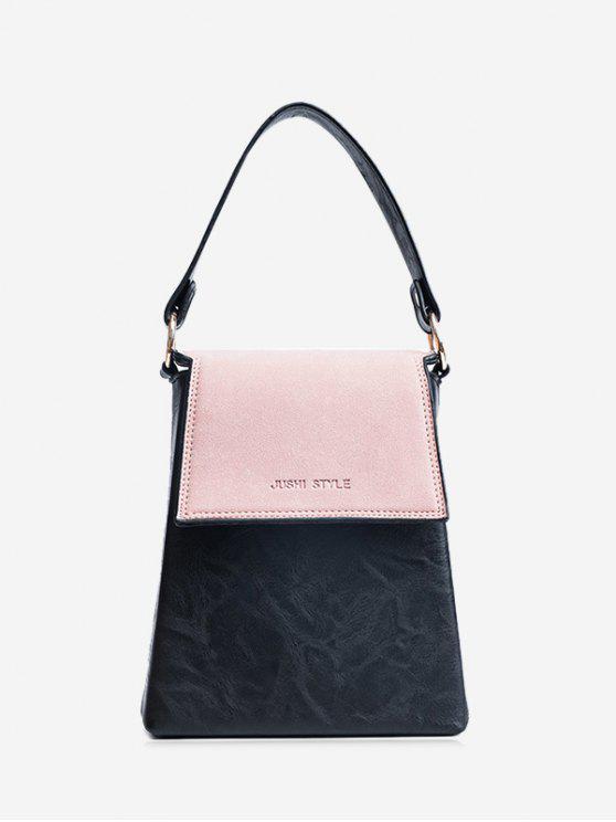 Bolsa de couro de faux em relevo em bloco de cor - Rosa