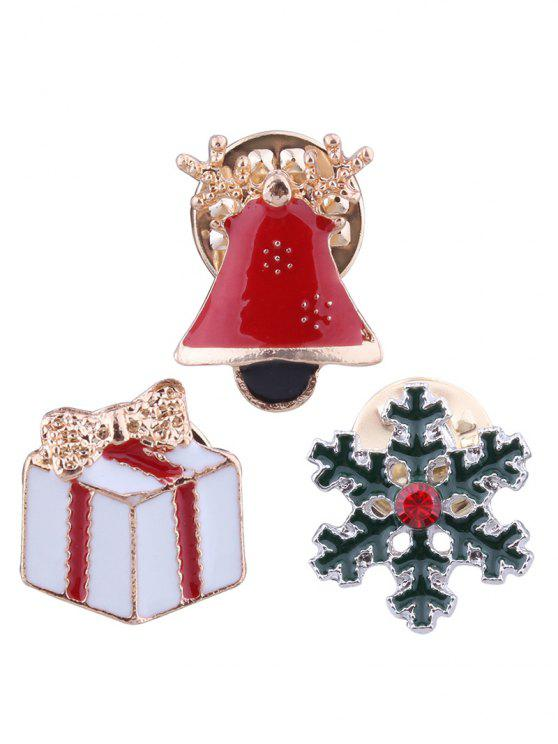 online Christmas Bell Snowflake Bows Gift Brooches - RED