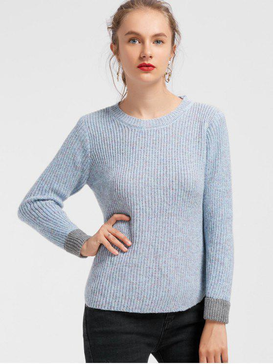 trendy Side Slit Heathered Contrasting Sweater - LIGHT BLUE ONE SIZE
