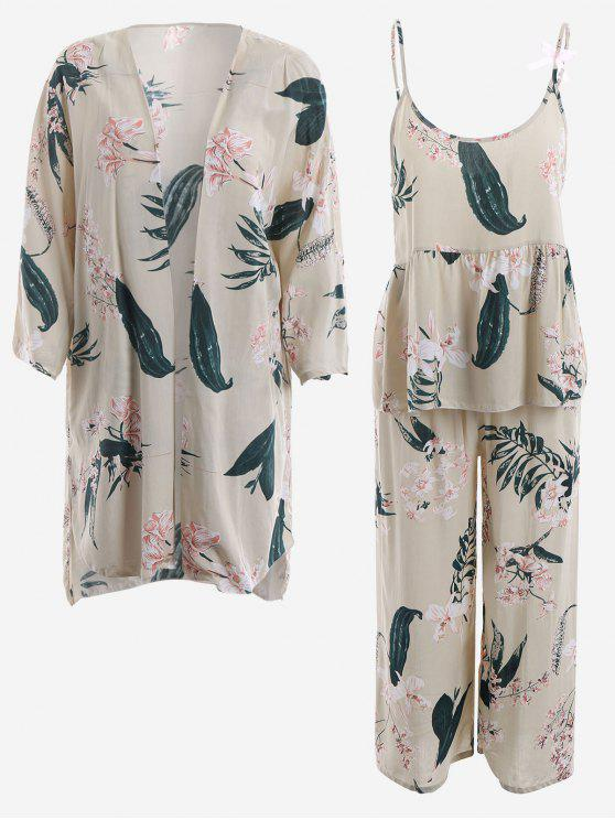 sale Pajamas Lily Print Kimono And Cami Top And Pants - LIGHT APRICOT M