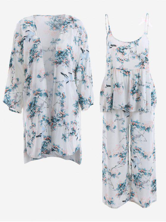 كيمونو مع بلوزة و سروال بطبعة أزهار - أبيض XL