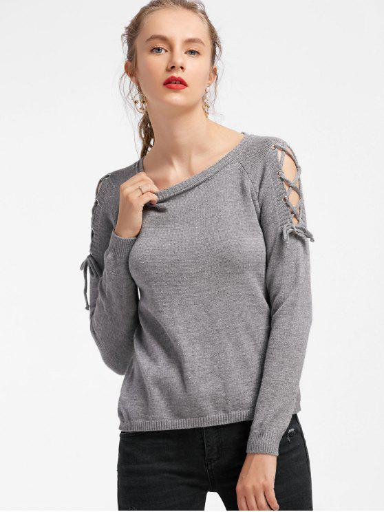 women Fitting Raglan Sleeve Lace Up Sweater - GRAY ONE SIZE