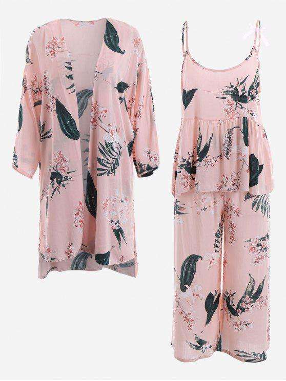 new Pajamas Lily Print Kimono And Cami Top And Pants - PINK M