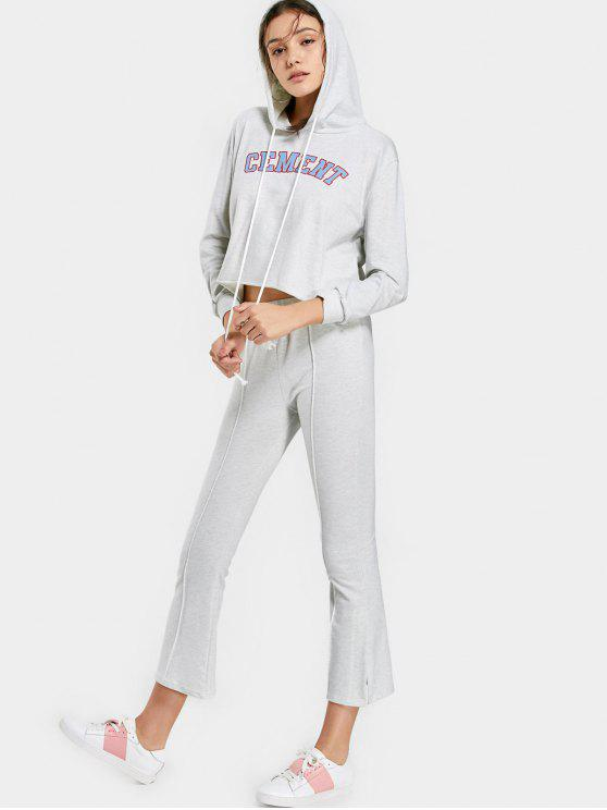 Sudadera con capucha y pantalón gráfico de letras - Gris Claro XL
