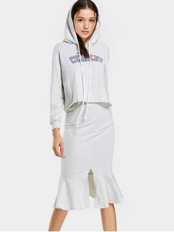 Sudadera con capucha gráfica y conjunto falda sirena - Gris Claro XL