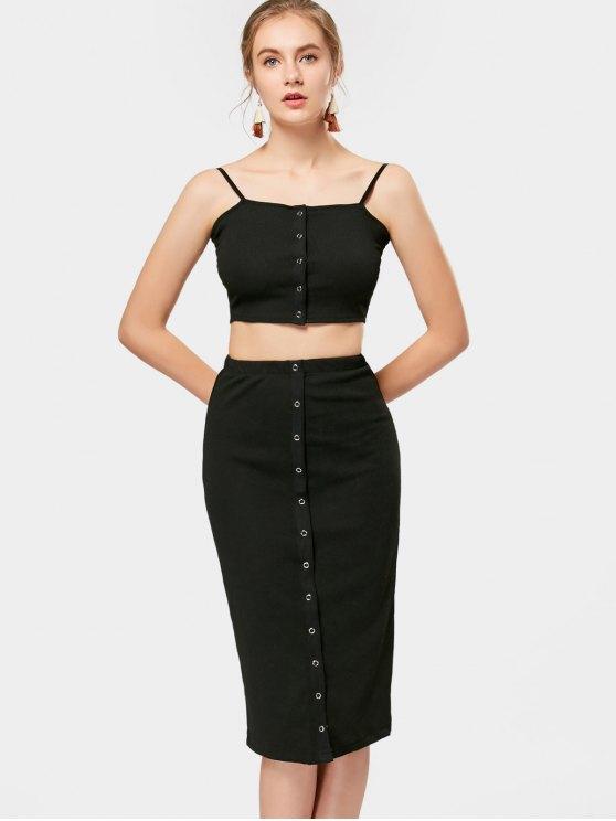 Falda recortada de punto y falda de la falda de Midi - Negro S