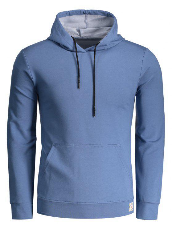 buy Kangaroo Pocket Pullover Hoodie - LIGHT BLUE XL