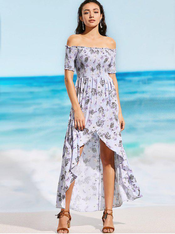 trendy Off Shoulder Smocked Floral Slit Maxi Beach Dress - FLORAL M