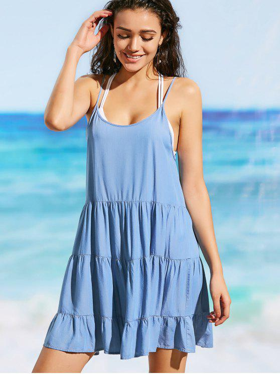 fancy Cami Low Back Chambray Beach Dress - BLUE M