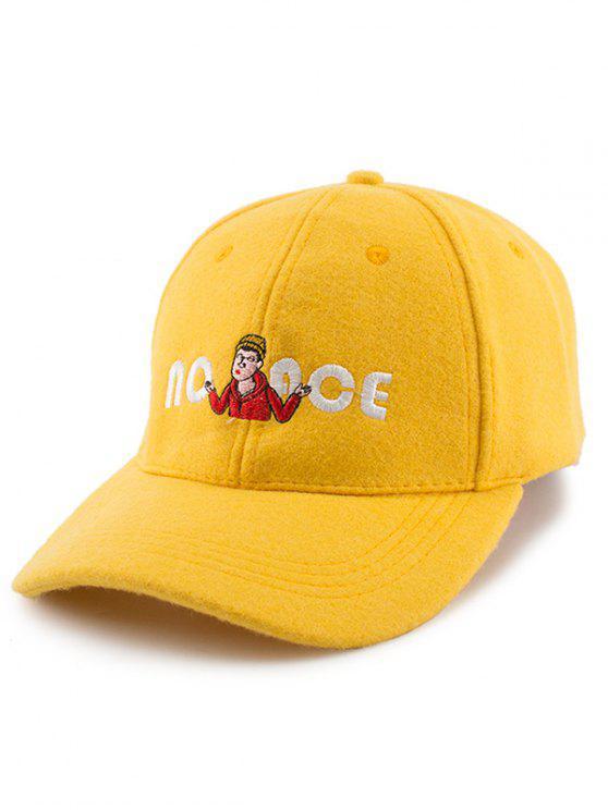 shop Cartoon Figure Letters Embroidery Felt Baseball Hat - YELLOW