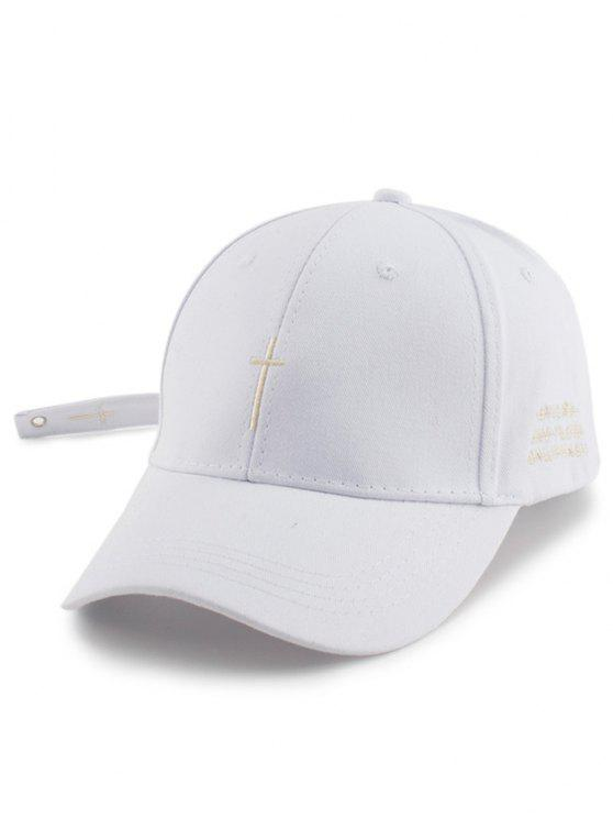 Pequeño Sombrero de Béisbol Bordado Cruz con Cola - Blanco