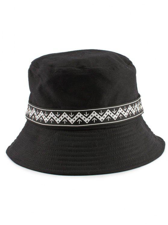 Zigzag Pattern Band Bucket Hat - Negro