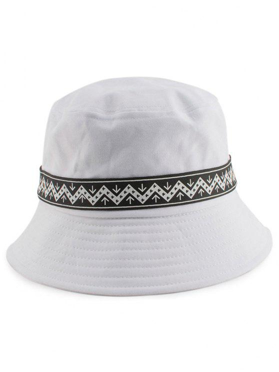 women Zigzag Pattern Band Bucket Hat - WHITE
