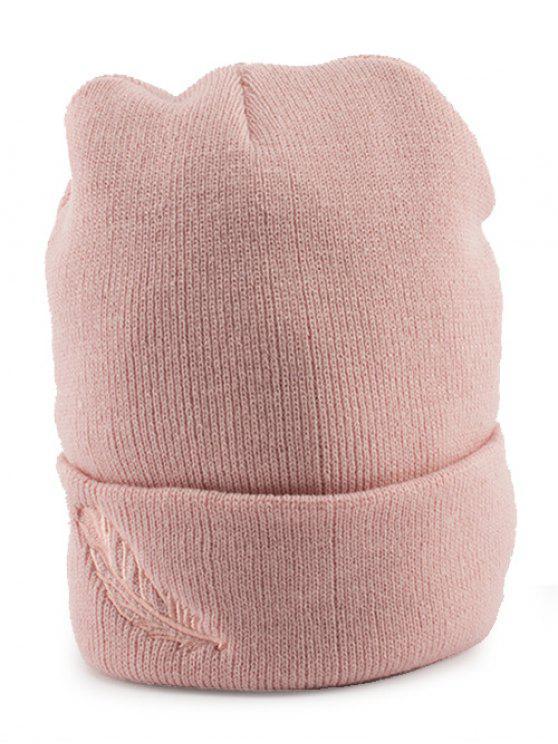 Cappello In Maglia Flangiato Con Ricamo A Piume - Rosa
