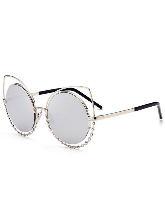 hot Alloy Rhinestone Cat Eye Sunglasses - SLIVER FRAME+MERCURY LENS