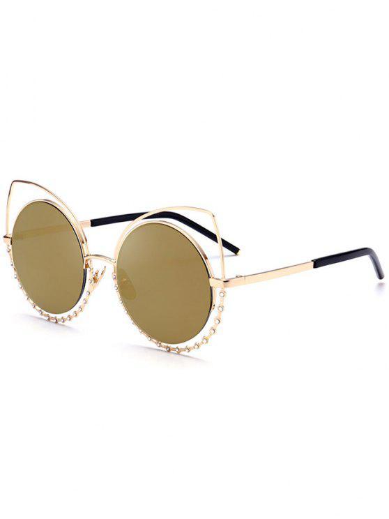 Aleación de gafas de sol de ojos de gato Rhinestone - Marco de Oro + Lente de Oro