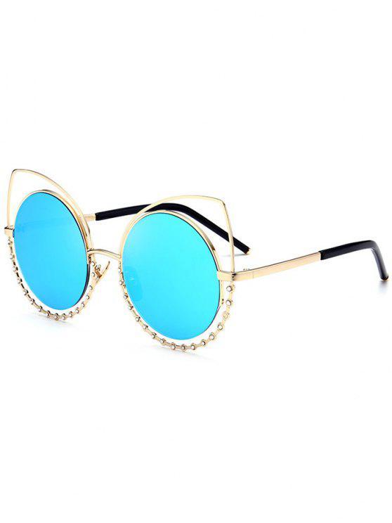 Aleación de gafas de sol de ojos de gato Rhinestone - Marco de Oro + Lente Azul