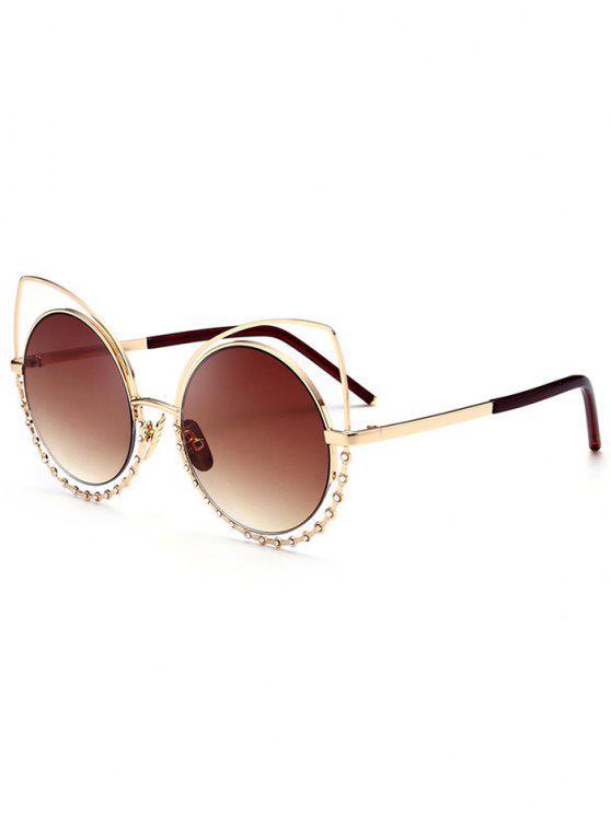 Aleación de gafas de sol de ojos de gato Rhinestone - Marco de Oro + Lente de Color Marrón Oscuro