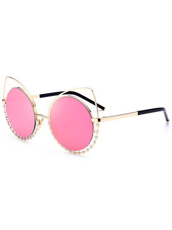 Legierung Strass-Katzenaugen-Sonnenbrille - Goldrahmen+pinke Linse