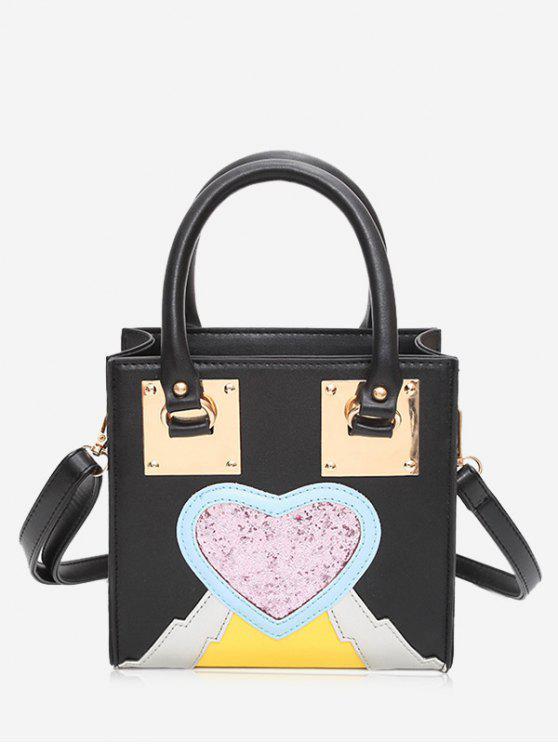 Glitter Heart Color Block Handbag - Noir