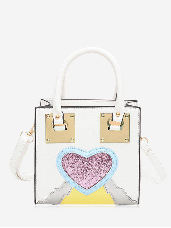 Glitter Heart Color Block Handbag - Branco