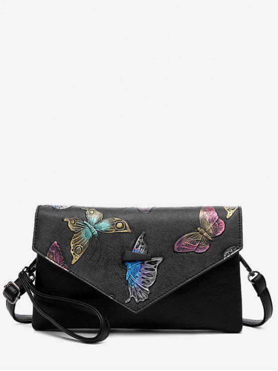 chic Embossing PU Leather Crossbody Bag - BLACK