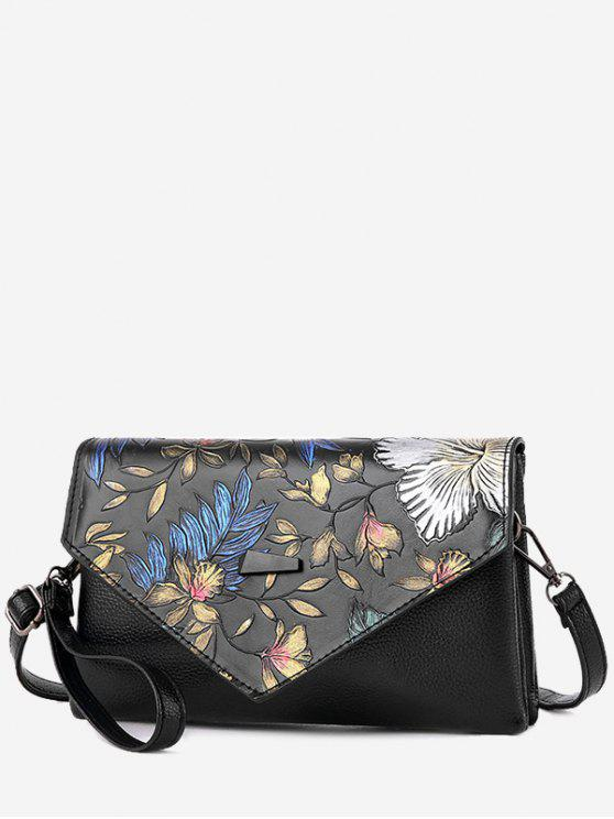 fancy Embossing PU Leather Crossbody Bag - COLORMIX