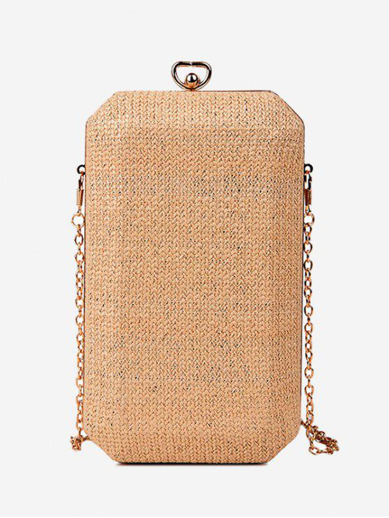 unique Straw Metal Chain Crossbody Bag - BROWN