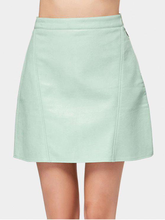 fancy Side Zip Faux Leather Mini Skirt - LIGHT GREEN XS