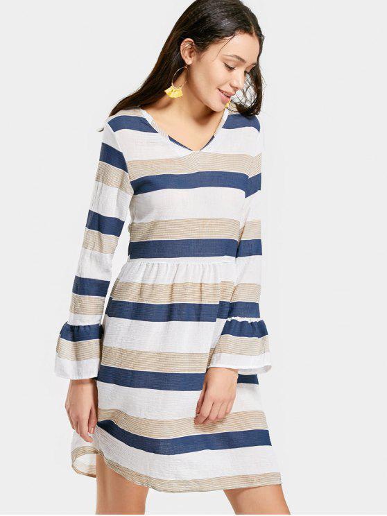 womens V Neck Flare Sleeve Striped Dress - STRIPE S