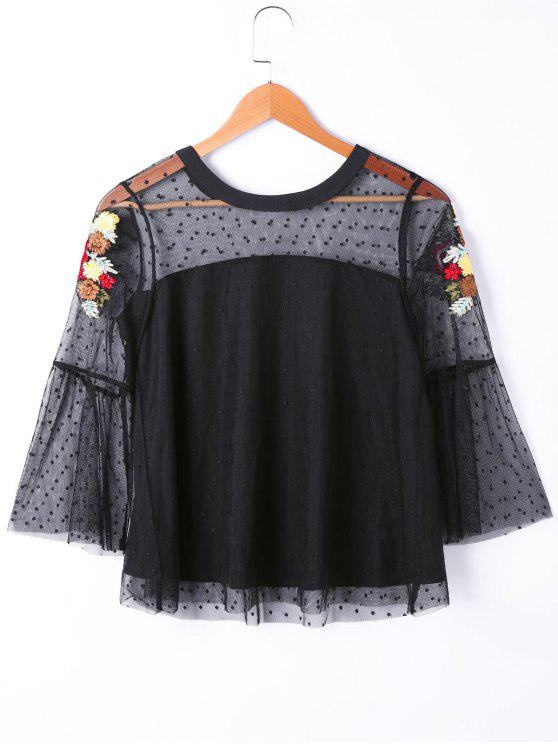 fancy See Thru Floral Embroidered Polka Dot Overlay Top - BLACK L
