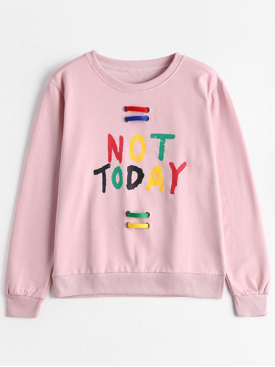chic Crew Neck Embellished Letter Sweatshirt - PINK ONE SIZE