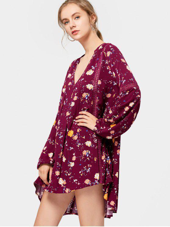 Vestido de túnica floral de manga larga - Rojo purpúreo S