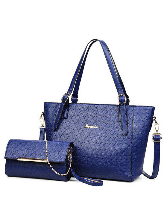 مبطن معدن 2 قطعة حقيبة الكتف مجموعة - أزرق