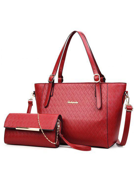مبطن معدن 2 قطعة حقيبة الكتف مجموعة - أحمر