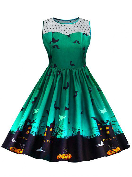 Halloween Lace Panel Vestido de talla grande - Verde 5XL