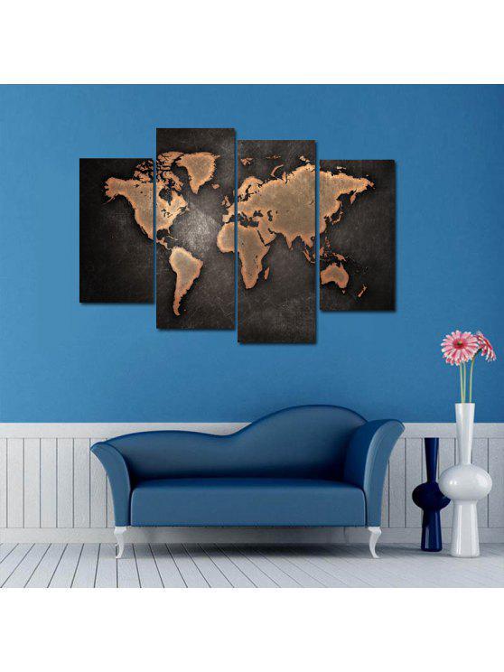 Vintage world map print unframed canvas split paintings dun wall shop vintage world map print unframed canvas split paintings dun 3060cm2pcs gumiabroncs Image collections