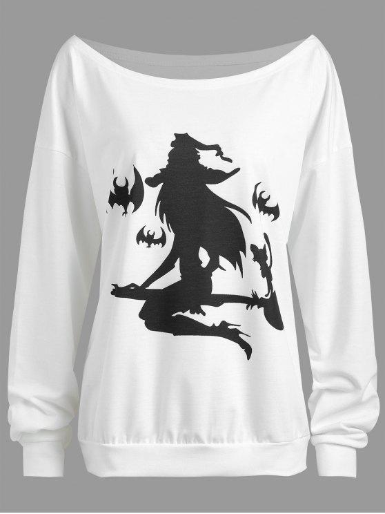 Más tamaño Halloween Witch Murciélago Imprimir gota Hombro Sudadera - Blanco XL