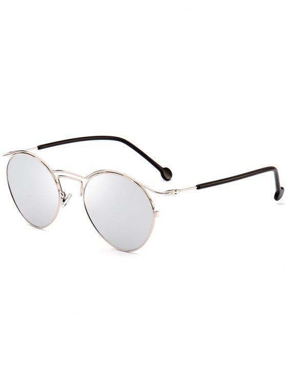 unique Retro Pilot Sunglasses with Metal Frame - SILVER FRAME + WHITE LENS