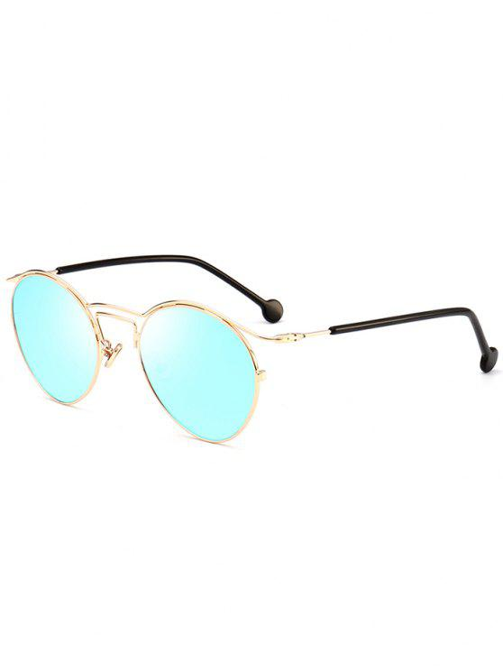 Retro Pilot Sonnenbrille mit Metallrahmen - Gold+Eis Blau