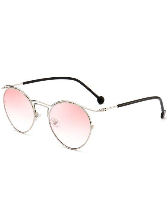 womens Retro Pilot Sunglasses with Metal Frame - PINK