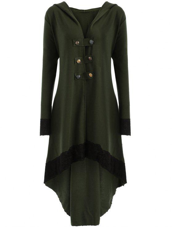 Manteau Grande Taille à Lacets et Capuche Haut-Bas - Vert Armée XL