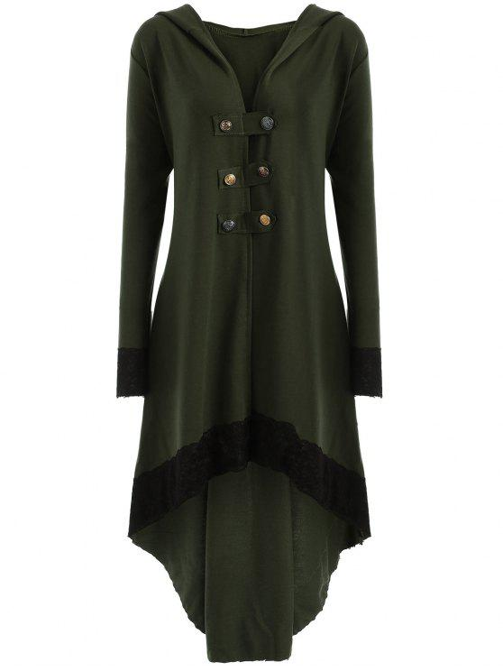 women Lace-up Plus Size Hooded High Low Coat - ARMY GREEN 3XL