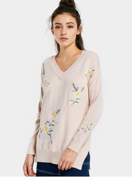 affordable Embroidered Tunic Jumper Sweater - APRICOT M