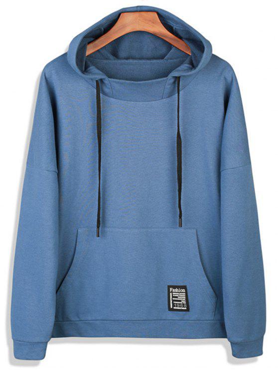 chic Drop Shoulder Graphic Print Pocket Pullover Hoodie - LIGHT BLUE XL
