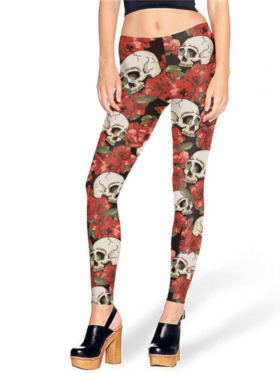 fashion Halloween Skull Roses Print Leggings - RED S