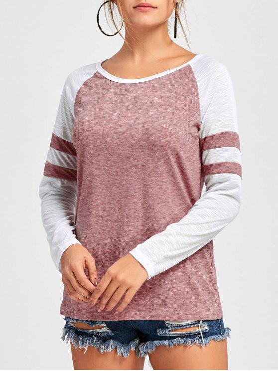 affordable Double Striped Raglan Sleeve Top - PINK L