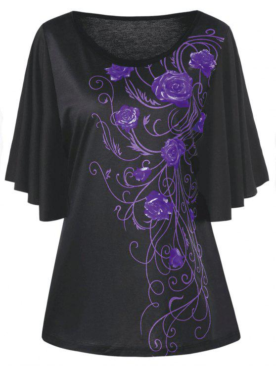 ccf6cda163c Plus Size Tiny Floral Drape Sleeve T-shirt