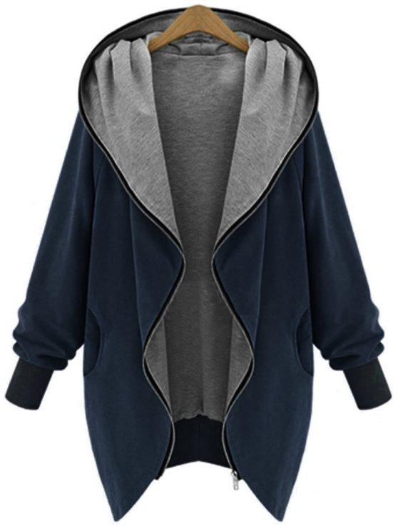 Zip Up Plus Size Kapuzenmantel - Kadettenblau XL